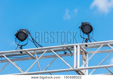 Out door stage lights attached to metal framework