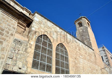 JERUSALEM ISRAEL 23 10 16: Church of the Flagellation, according to the Gospels on this place the Roman soldiers scourged Jesus Christ and put on him the crown of thorns and a purple Shroud