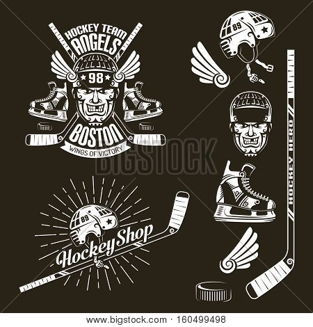 Hockey club emblem with face sticks skates puck. And elements for logo. Vector illustration on a dark background.