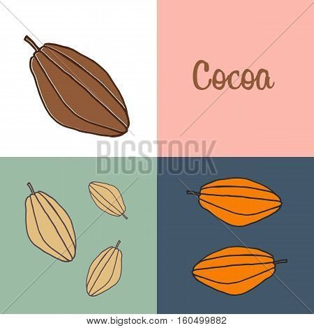 hand drawn cocoa fetus  in different colors