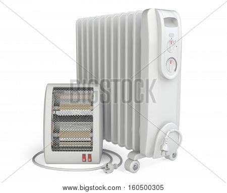 3d Illustration of Quartz and Oil Heater isolated on a white background.