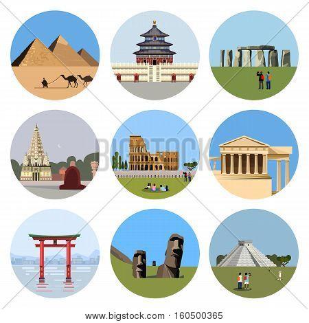 World landmarks flat icon set. travel illustration. Monument sign. Egypt pyramid, Temple of Heaven, Stonehenge, Mahabodhi, Colosseum, Italy Pantheon, torii gate, Moai, Mesoamerican pyramids