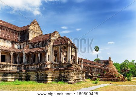 Outer Hallway And Buddhist Stupa In Angkor Wat, Cambodia