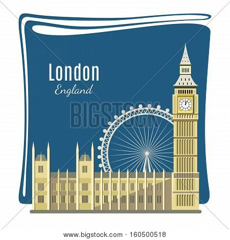 London landmark detailed illustration for card. Big Ben, London Eye, Westminster Abbey. Architecture of England. Places of interest in London. Great Britain capital panorama. Flat style design.