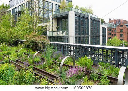 Urban public park on a historic train freight line in Chelsea Manhattan
