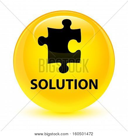 Solution (puzzle Icon) Glassy Yellow Round Button