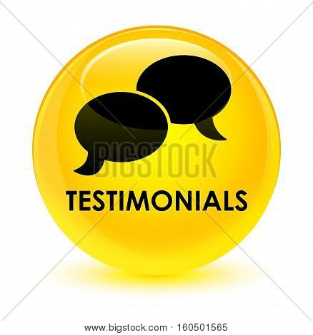 Testimonials (chat Icon) Glassy Yellow Round Button