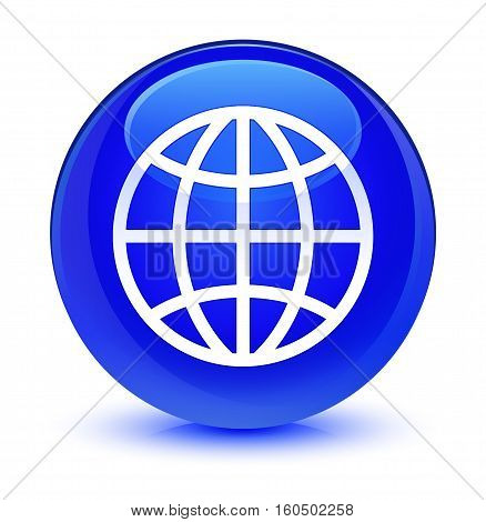 World Icon Glassy Blue Round Button