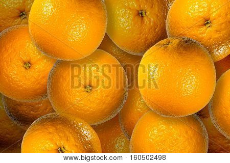 Orange juicy fruits close up contrast background