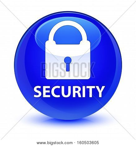 Security (padlock Icon) Glassy Blue Round Button
