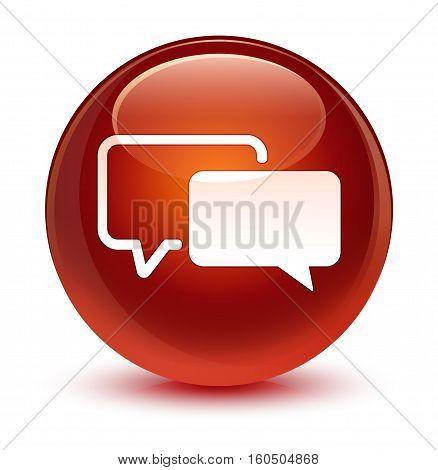 Testimonials Icon Glassy Brown Round Button