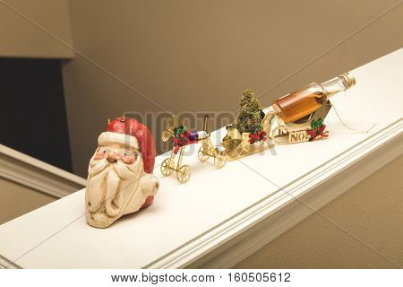 Holiday party train in tiny ornament version