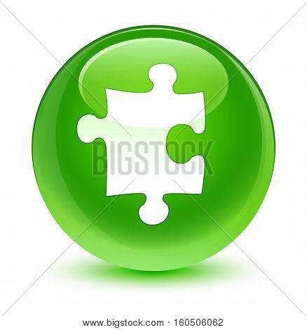Puzzle Icon Glassy Green Round Button