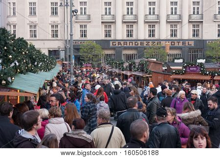 Brno,Czech Republic-November 26,2016: People browsing market stalls at Christmas market on the Cabbage Market on November 26 ,2016 Brno Czech Republic