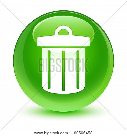 Recycle Bin Icon Glassy Green Round Button