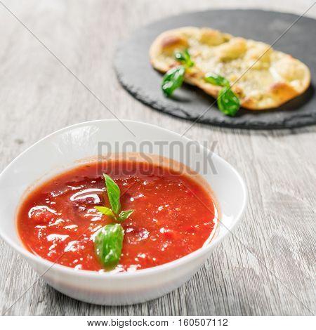 Spanish Cold Tomato Based Soup Gazpacho.