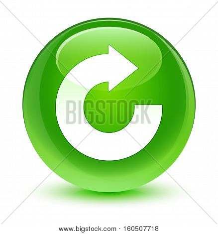 Reply Arrow Icon Glassy Green Round Button