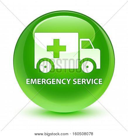 Emergency Service Glassy Green Round Button