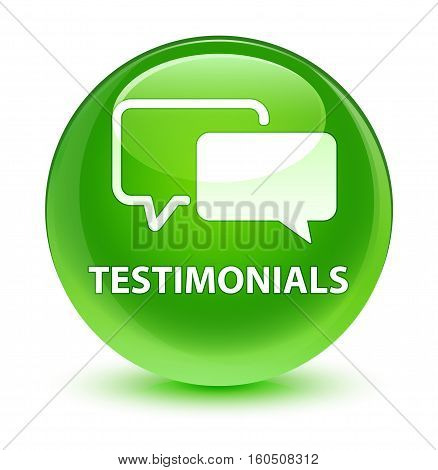 Testimonials Glassy Green Round Button