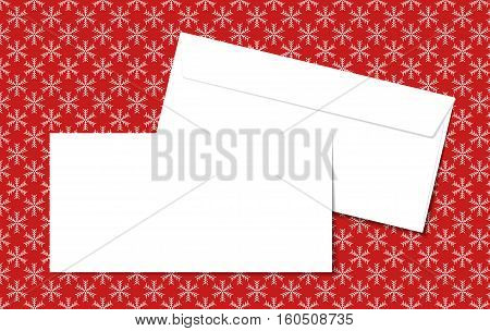 Template blank vector envelopes on Christmas background with snowflakes. Blank white envelopes on a red background. Perfect for your text and messages.