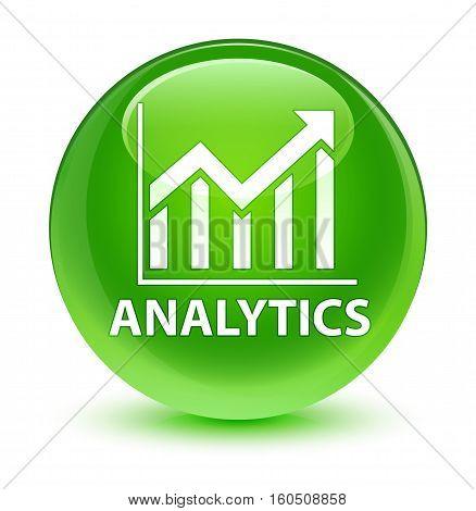 Analytics (statistics Icon) Glassy Green Round Button