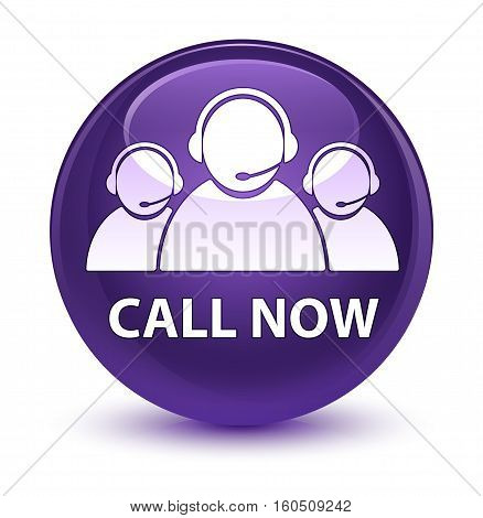 Call Now (customer Care Team Icon) Glassy Purple Round Button