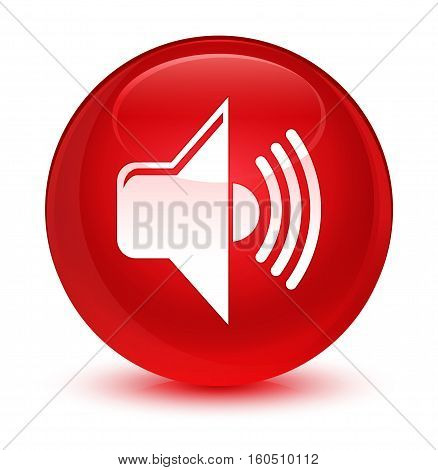 Volume Icon Glassy Red Round Button