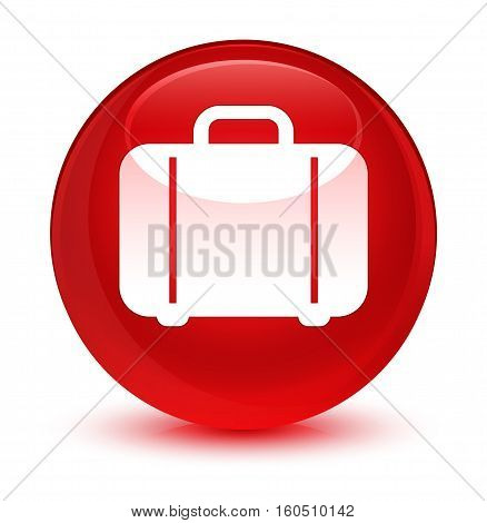 Bag Icon Glassy Red Round Button