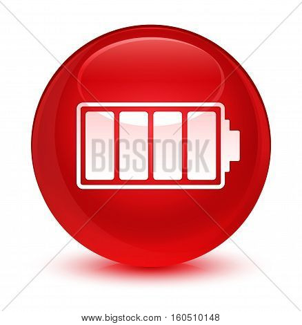 Battery Icon Glassy Red Round Button