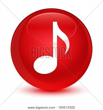 Music Icon Glassy Red Round Button
