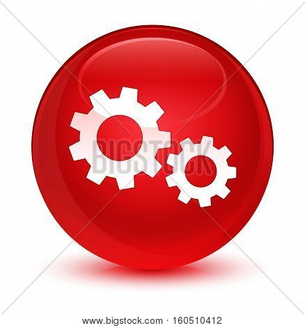 Process Icon Glassy Red Round Button
