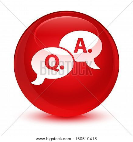 Question Answer Bubble Icon Glassy Red Round Button