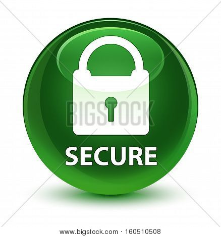 Secure (padlock Icon) Glassy Soft Green Round Button