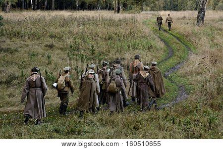 KRASNOGVARDEYSKIY SVERDLOVSK OBLAST RUSSIA - SEPTEMBER 11 2016: Historical reenactment of Russian Civil war in the Urals in 1919. Soldier of White Army