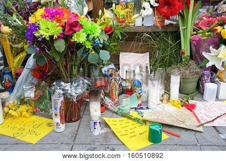 Oakland CA - December 06 2016: Memorial near the aftermath of the