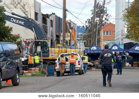 Oakland CA - December 06 2016: Recovery efforts continue in the aftermath of the