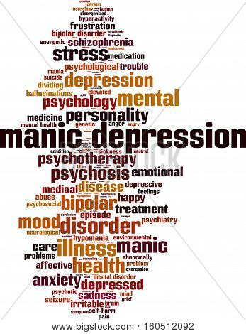Manic depression word cloud concept. Vector illustration