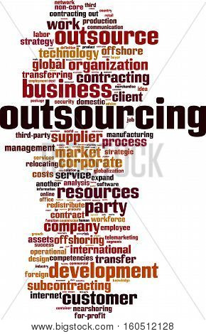 Outsourcing word cloud concept. Vector illustration on white