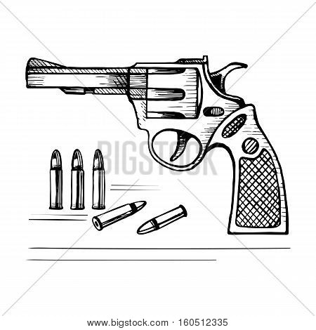 Sketch vector revolver gun with bullets. Stock illustration on a white background.