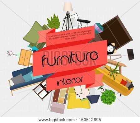 Furniture interior. Different furniture. Vector. Furniture design