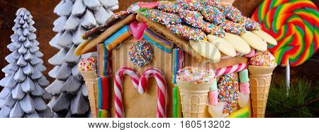 Festive Christmas Gingerbread House Social Media Banner