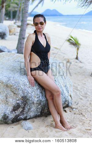 Lady body pretty in Ban Krut Beach at Prachuap Khirikhun Province Thailand