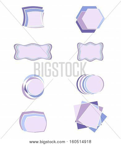 Set with Flat Banners, Frames, Backgrounds in Cold Colors. Vector EPS 10