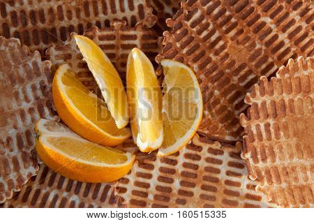 Background from home wafers and slices of orange