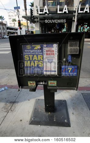 HOLLYWOOD, WEDNESDAY, NOVEMBER 16, 2016: A machine selling star maps. These maps help tourists find the homes of Hollywood stars.