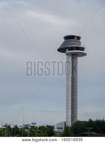 Arlanda control tower. Center of flight control. Modern building. Sweden