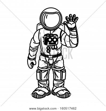 Astronaut cartoon icon. Spaceman cosmonaut pilot space and science theme. Isolated design. Vector illustration