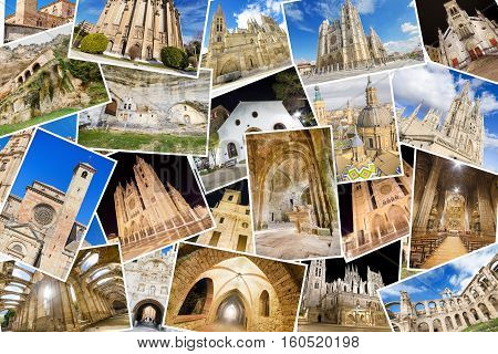 A collage of my best photos of churchs monasterys and cathedrals including some famous temples like Burgos cathedral Leon cathedral and Zaragoza basilic.