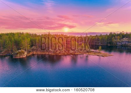 Colorful Landscape At Sunrise