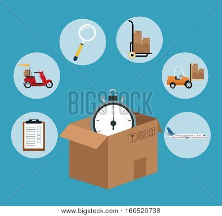 fast time delivery transport logistic vector illustration eps 10